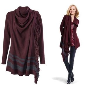 CAbi Maroon Port Fringe Wrap Cardigan Grey Stripe